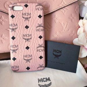 Auth MCM New Baby Pink & Black Visetos Iphone Case